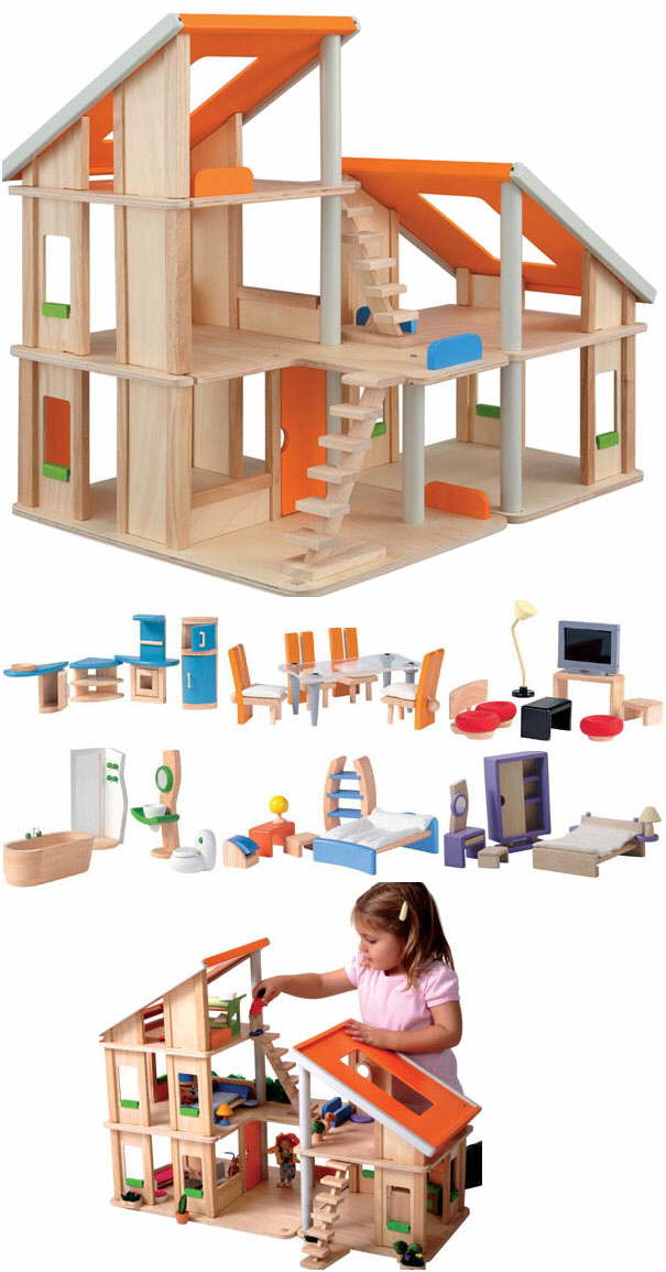 Pics Photos - Plan Toys Chalet Doll House With Furniture