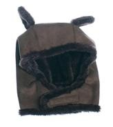 Egg by Susan Lazar Chocolate Faux Sheer Bear Hat by EGG