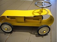 retro ride on car from elias and grace in yellow