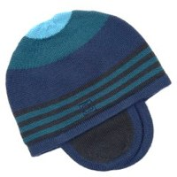 Navy And Teal Striped Hat by Bonnie Baby