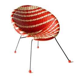 1960s red and white rattan bucket chair
