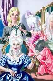 Cinderella helping the ugly sisters to get ready for the ball