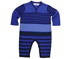 Pima Cotton striped playsuit/onesie blue bonnie baby