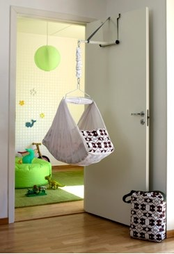 mawok baby hammock on a door