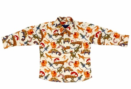 Little Man Shirt LS Cream Lizards