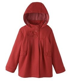 John Lewis Girl Hooded Swing Coat, Red