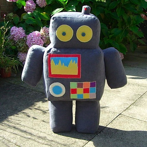 stuffed robot by needles and buttons on Folksy