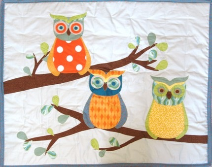Forest Friends baby or toddler quilt, Branches and Owls, with applique and patchwork, custom order