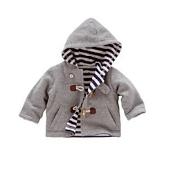 grey jersey duffle with striped lining by boden baby