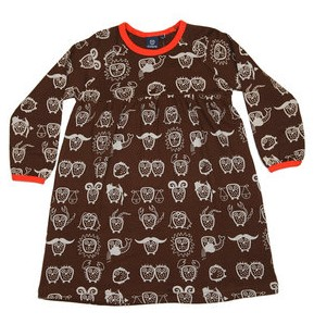 owl horoscope dress by ej sikke lej in brown and orange colourway