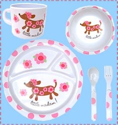 melamine dinner set with sausage dog