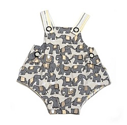 Right Bank Babies Boys Reversible Romper: Elephant