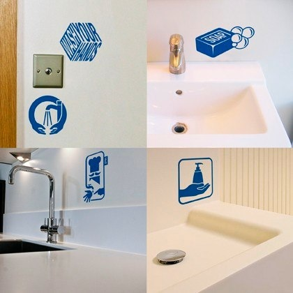 wash your hands reminder stickers