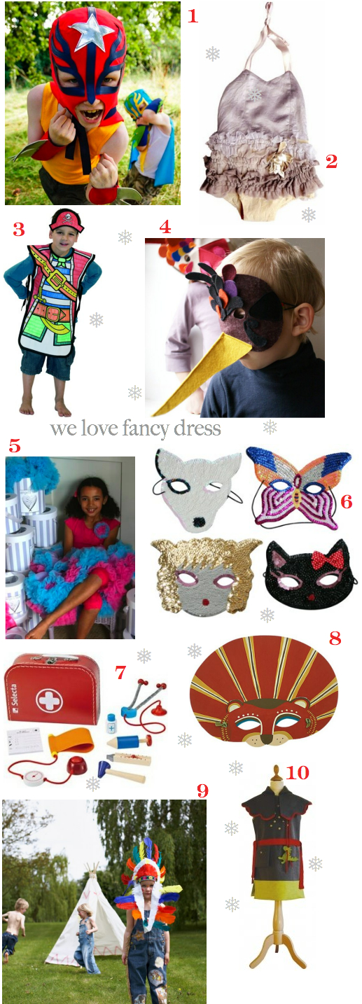 fancy dress costumes for toddlers and preschoolers including superhero capes, Wovenplay costumes, colouring in pirates, handmade felt bird masks, pettiskirts, sequinned animal masks, doctors kit by Selecta, cardboard animal masks by Zid Zid, Indian chiefs headdress and a Middle Ages Knights costume