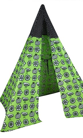 clothkits wigwam in green retro bird print