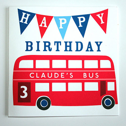 Sweet Home London personalised bus birthday card