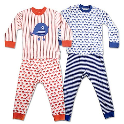 green kids LONG JOHN PYJAMAS Red or Blue