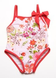 Floatimini Girls Pink Bow Front Swimsuit.