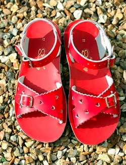 red sun-san sweetheart sandals