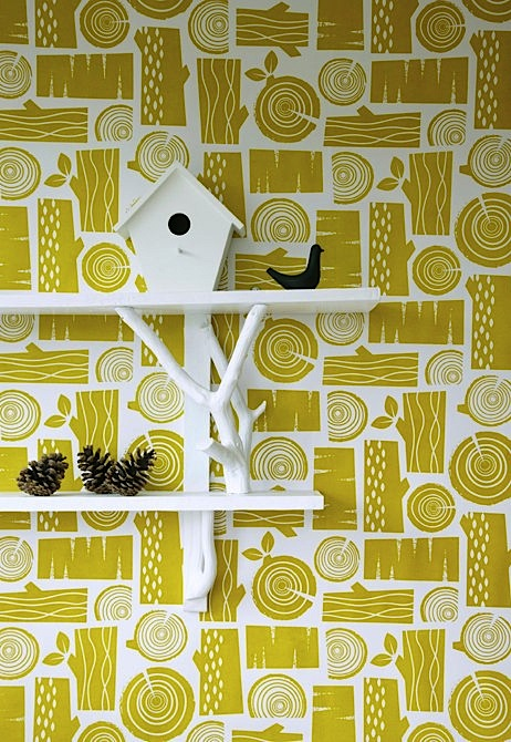 Roddy & Ginger moss yellow logpile wallpaper