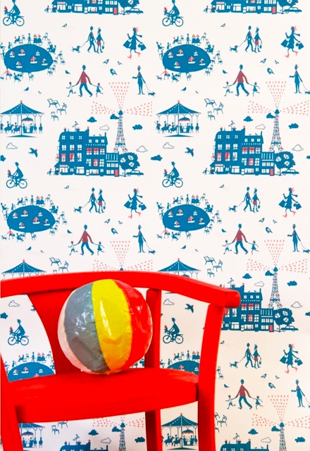 Famille Summerbelle Paris Wallpaper blue &amp; red