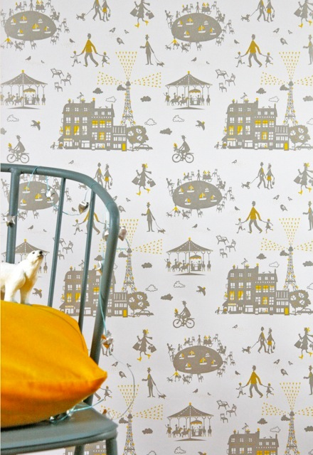 Famille Summerbelle Paris Wallpaper yellow &amp; silver