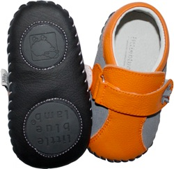 Orange & Grey Premium Leather Baby Shoes