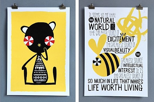 Supafrank Creature Collective Thoughtful Bear and Bee prints