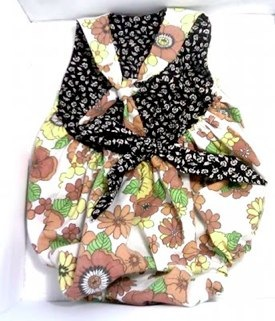 Retro Romper Swimsuit in Orange and Brown floral and Black by Mimimyne