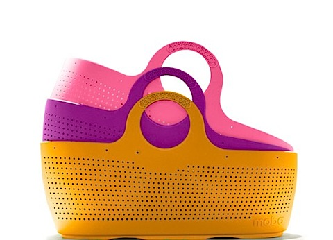 Moba moses baskets in orange, purple and pink