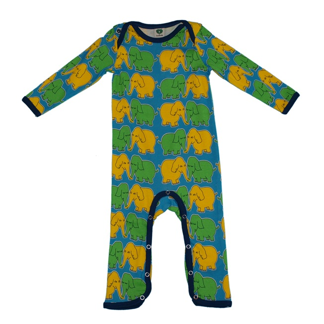 turquoise kissing elephants playsuit - Style-21-401-04 v2