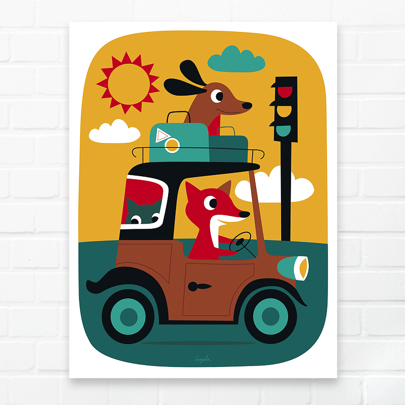 Happy Spaces 'Fox &amp; Dog On The Road' by Ingela P.Arrhenius