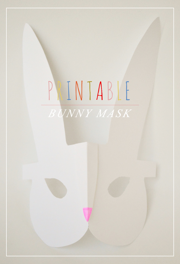 Printable bunny masks, Swoon Studio