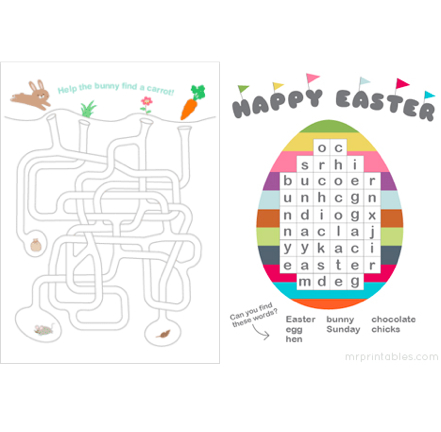 Easter word seach and maze puzzles, Mr Printables