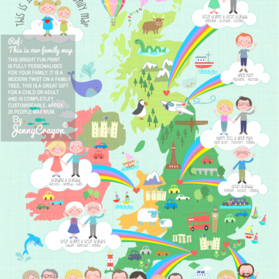 Jenny Crayon's personalised family tree map