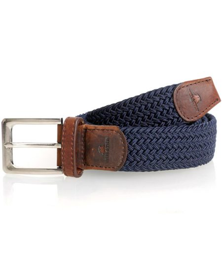 Tyler Tyler navy woven cotton and leather belt.