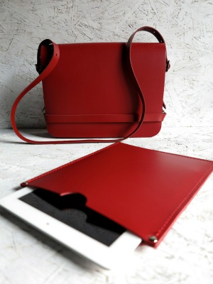 Finkle Street Handcrafted Red Leather Bag with iPad Sleeve