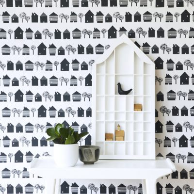Roddy & Ginger Smalltown print wallpaper and cushions