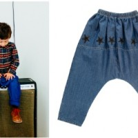 Wolf and Rita - boy in short and jeans plus reverse of jeans with black faux leather stars