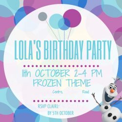 Frozen Themed Party Invite