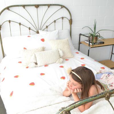 Super-sweet Strawberry Bedding new at Fox Organic