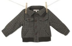 Boy's Check Woven Jacket in Brown from Mini Mode