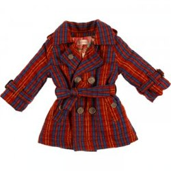 QUINCY WAGNER Red check wool coat