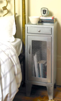 silver bedside cabinet with mesh front