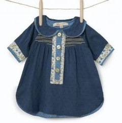 Girl's Molly 'n' Jack Blue Shirt Dress with Floral Detail