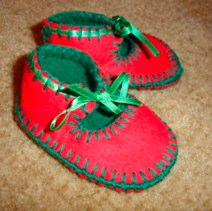 Red And Green Pixie Bootees