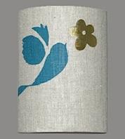small bird with flower lamp shade by helen minns