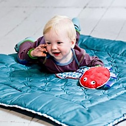 Eco Friendly Quilted Play Blanket In Blue