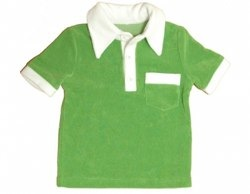 Green Short Sleeve Terry Towelling Shirt by Moonkids