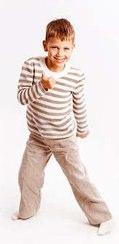 Boys Striped Knit Linen Pullover